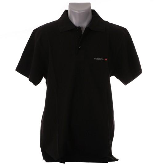 Herren Polo-Shirt mit Ärmellogo schwarz, Größe L