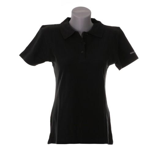 Damen Polo-Shirt mit Ärmellogo schwarz, Größe XL