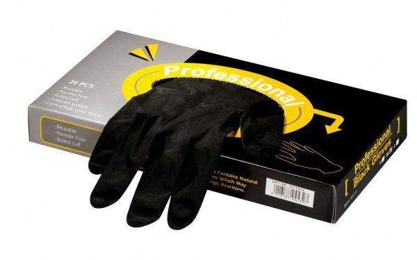 Latexhandschuhe Professional Black mittel, 20 Stück